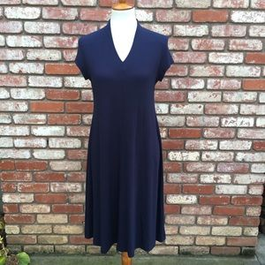 Eileen Fisher Navy V Neck Midi Dress